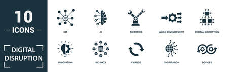 Digital Disruption icon set. Monochrome sign collection with iot, ai, robotics, agile development and over icons. Digital Disruption elements set.