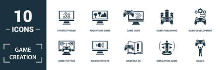 Game Creation icon set. Monochrome sign collection with mobile game, action game, sport game, racing game and over icons. Game Creation elements set. Vettoriali