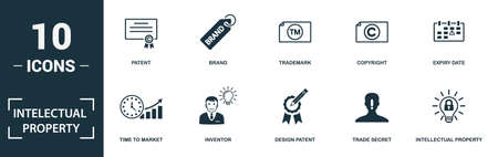 Intellectual Property icon set. Monochrome sign collection with patent, brand, trademark, copyright and over icons. Intellectual Property elements set.