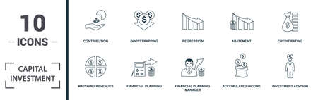 Capital Investment icon set. Monochrome sign collection with matching revenues, financial planning, financial planning manager, accumulated income and over icons. Capital Investment elements set. Vettoriali