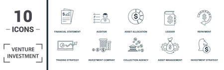 Venture Investment icon set. Monochrome sign collection with contribution, bootstrapping, regression, abatement and over icons. Venture Investment elements set. Vettoriali