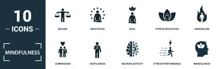Mindfulness icon set. Monochrome sign collection with balans, meditation, soul, stress reduction and over icons. Mindfulness elements set. Vettoriali