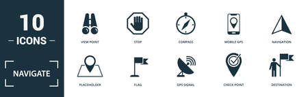 Navigate icon set. Monochrome sign collection with map location, geolocation, address, wind rose and over icons. Navigate elements set.