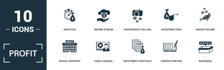 Profit icon set. Monochrome sign collection with affiliate marketing, referral marketing, sponsor, dividend and over icons. Profit elements set. Vettoriali