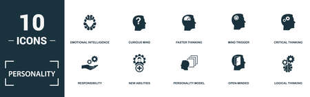 Personality icon set. Monochrome sign collection with emotional intelligence, curious mind, faster thinking, mind trigger and over icons. Personality elements set. Vettoriali