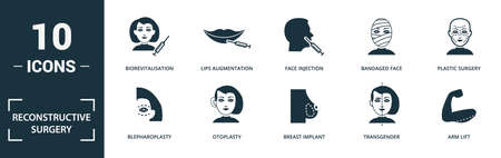 Reconstructive Surgery icon set. Monochrome sign collection with penis enlargement, hair transplantation, sex change surgery, rhinoplasty and over icons. Reconstructive Surgery elements set.