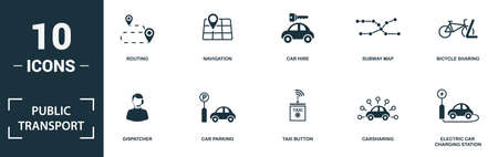 Public Transport icon set. Monochrome sign collection with routing, navigation, car hire, subway map and over icons. Public Transport elements set.