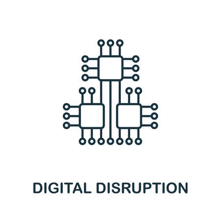 Digital Disruption line icon. Outline Digital Disruption icon element