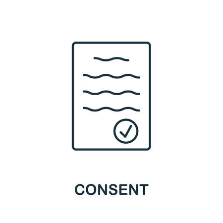 Consent icon. Simple line element from gdpr collection. Filled Consent icon for templates, infographics and more. 向量圖像