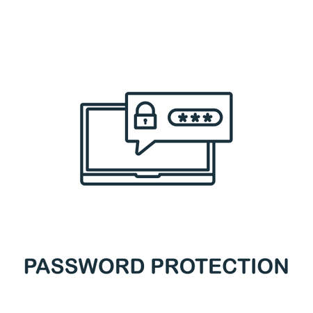 Password Protection icon. Simple line element from gdpr collection. Filled Password Protection icon for templates, infographics and more.