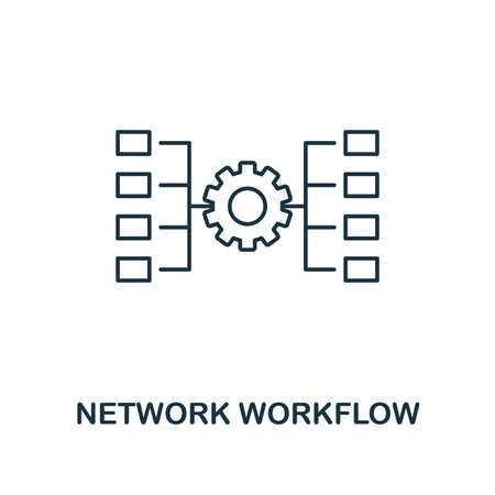 Network Workflow outline icon. Thin line style from big data icons collection. Pixel perfect simple element network workflow icon for web design, apps, software, print usage.