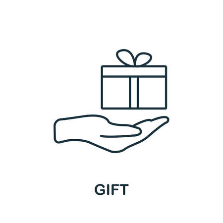 Gift icon. Simple line element from loyalty program collection. Filled Gift icon for templates, infographics and more.