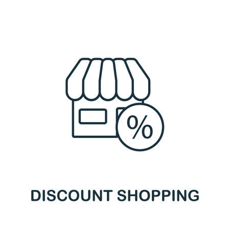 Discount Shopping icon. Simple line element from loyalty program collection. Filled Discount Shopping icon for templates, infographics and more. Ilustracja
