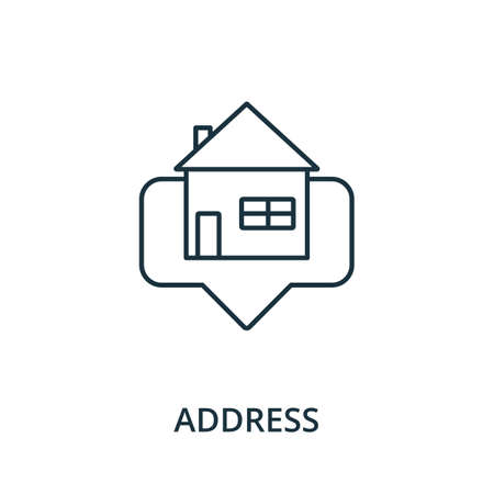 Address icon. Simple line element from navigation collection. Filled Address icon for templates, infographics and more. Ilustracja