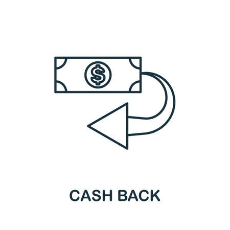 Cash Back icon. Simple line element from loyalty program collection. Filled Cash Back icon for templates, infographics and more. Ilustracja