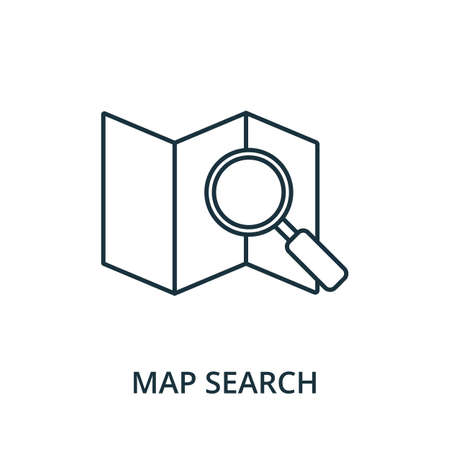 Map Search icon. Simple line element from navigation collection. Filled Map Search icon for templates, infographics and more.