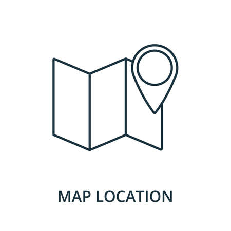 Map Location icon. Simple line element from navigation collection. Filled Map Location icon for templates, infographics and more. Ilustracja