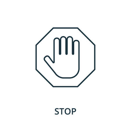 Stop icon. Simple line element from navigation collection. Filled Stop icon for templates, infographics and more. Ilustracja