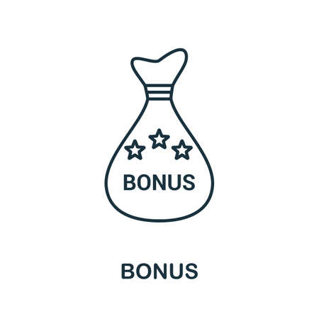 Bonus icon. Simple line element from loyalty program collection. Filled Bonus icon for templates, infographics and more. Ilustracja