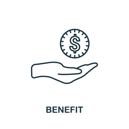 Benefit icon. Simple line element from loyalty program collection. Filled Benefit icon for templates, infographics and more.