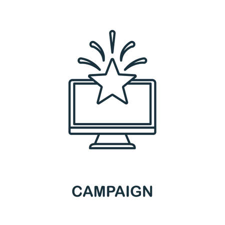 Campaign icon. Simple line element from loyalty program collection. Filled Campaign icon for templates, infographics and more. Ilustracja