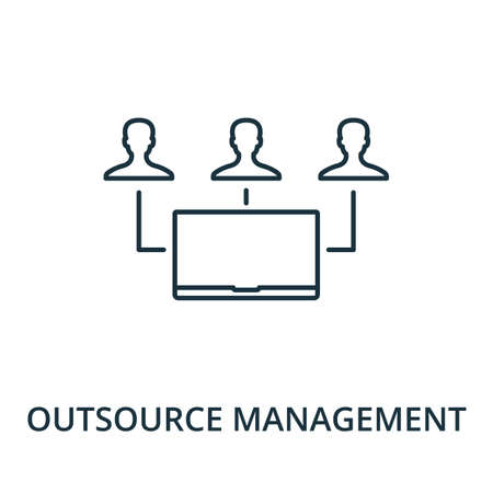 Outsource Management icon. Simple line element from reputation management collection. Filled Outsource Management icon for templates, infographics and more.