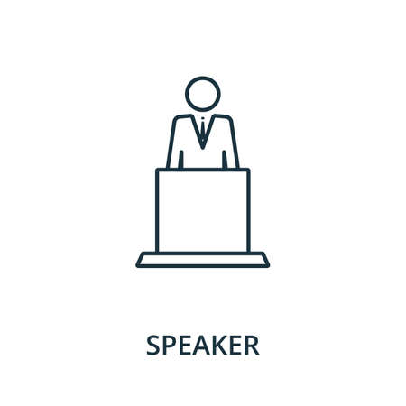 Speaker icon. Simple line element from reputation management collection. Filled Speaker icon for templates, infographics and more. Ilustracja