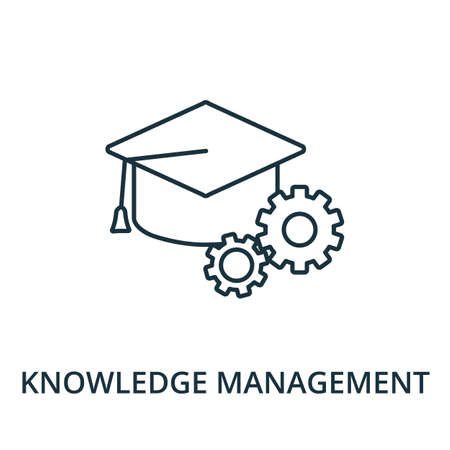 Knowledge Management icon. Simple line element from reputation management collection. Filled Knowledge Management icon for templates, infographics and more.