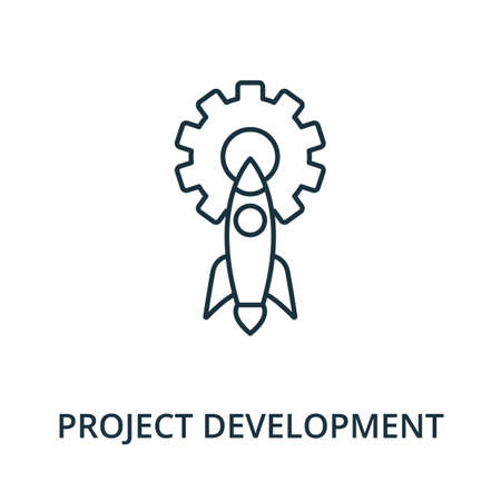 Project Development icon. Simple line element from reputation management collection. Filled Project Development icon for templates, infographics and more. Ilustracja
