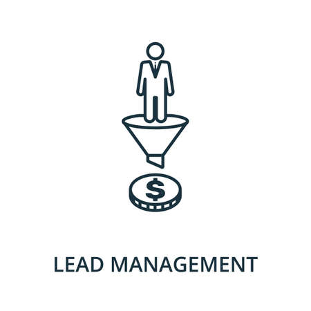 Lead Management icon. Simple line element from reputation management collection. Filled Lead Management icon for templates, infographics and more. Ilustracja