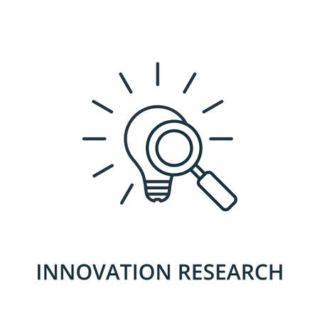 Innovation Research icon. Simple line element from reputation management collection. Filled Innovation Research icon for templates, infographics and more. Ilustracja