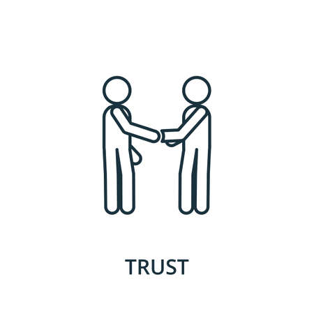 Trust icon. Simple line element from reputation management collection. Filled Trust icon for templates, infographics and more. Ilustracja