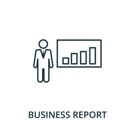 Business Report icon. Simple line element from reputation management collection. Filled Business Report icon for templates, infographics and more.