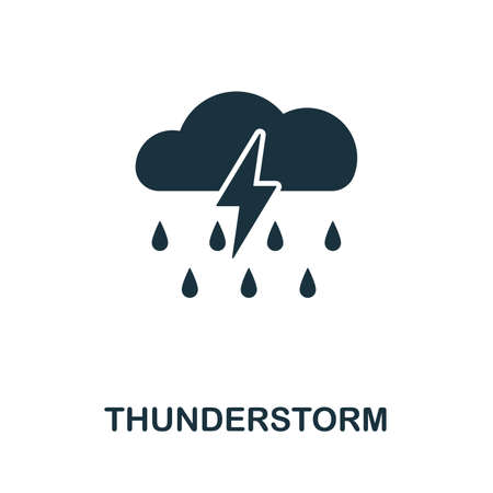 Thunderstorm icon vector illustration. Creative sign from thunderstorm icons collection. Filled flat Thunderstorm icon for computer and mobile. Symbol, logo vector graphics.