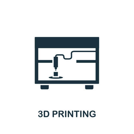 3D Printing icon. Monocrome element from technology collection. 3D Printing icon for banners, infographics and templates. 矢量图像