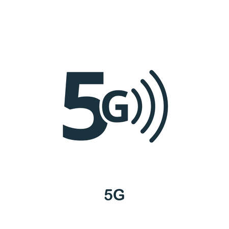 5G icon. Monocrome element from technology collection. 5G icon for banners, infographics and templates.