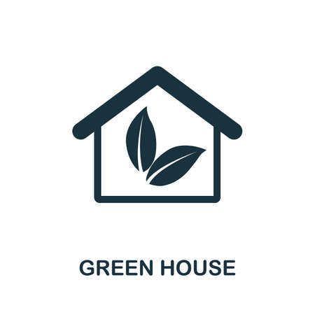 Green House icon. Monocrome element from technology collection. Green House icon for banners, infographics and templates. 矢量图像