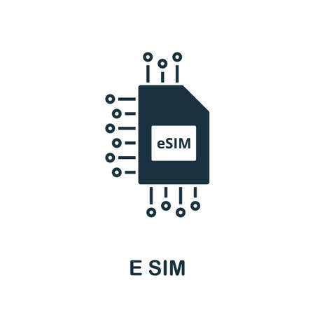 E Sim icon. Simple element from technology collection. Filled monochrome E Sim icon for templates, infographics and banners