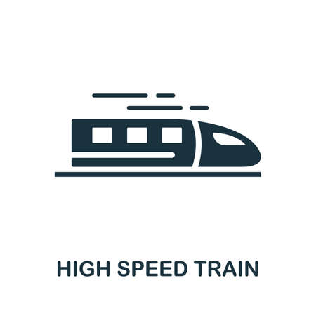 High Speed Train icon. Simple element from technology collection. Filled monochrome High Speed Train icon for templates, infographics and banners 矢量图像