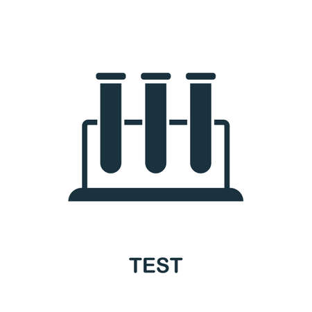 Test icon. Simple element from medical services collection. Filled monochrome Test icon for templates, infographics and banners