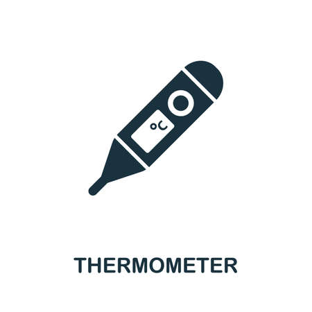 Thermometer icon. Simple element from medical services collection. Filled monochrome Thermometer icon for templates, infographics and banners 矢量图像