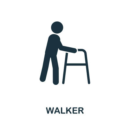 Walker icon. Simple element from medical services collection. Filled monochrome Walker icon for templates, infographics and banners 矢量图像