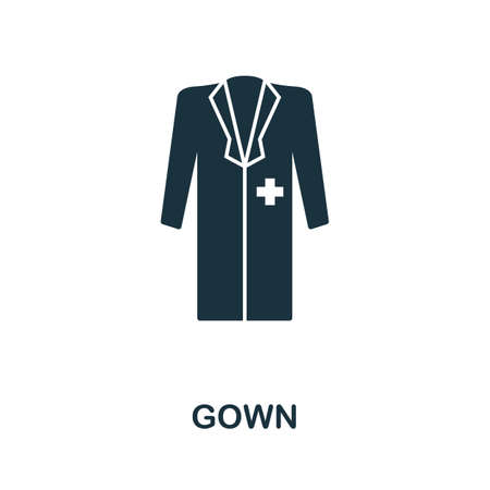 Gown icon. Simple element from medical services collection. Filled monochrome Gown icon for templates, infographics and banners 矢量图像