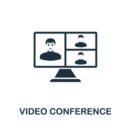 Video Conference icon. Simple element from new normality collection. Filled monochrome Video Conference icon for templates, infographics and banners 矢量图像