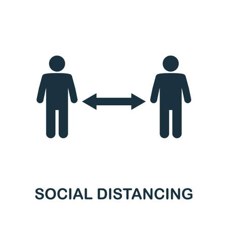 Social Distancing icon. Simple element from new normality collection. Filled monochrome Social Distancing icon for templates, infographics and banners