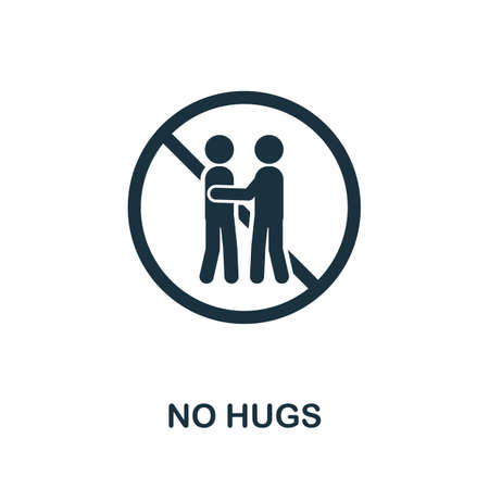 No Hugs icon. Simple element from new normality collection. Filled monochrome No Hugs icon for templates, infographics and banners