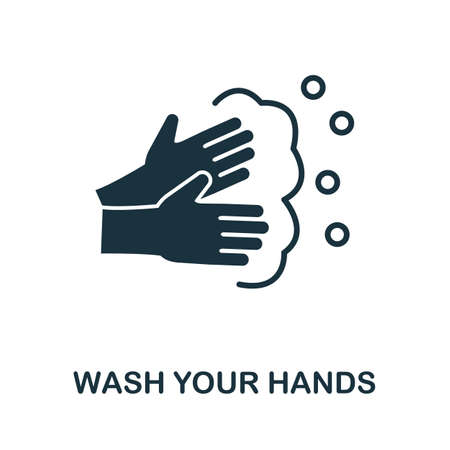 Wash Your Hands icon. Simple element from new normality collection. Filled monochrome Wash Your Hands icon for templates, infographics and banners 矢量图像