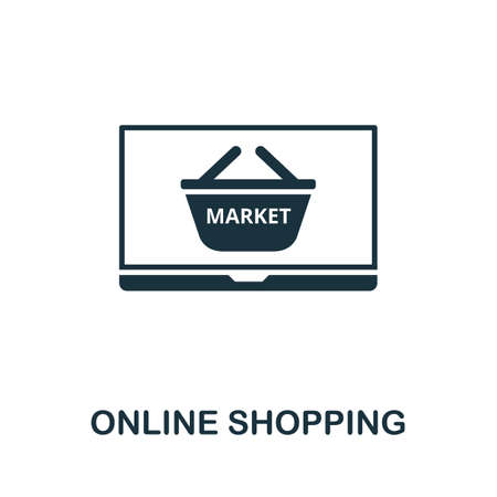 Online Shopping icon. Simple element from new normality collection. Filled monochrome Online Shopping icon for templates, infographics and banners