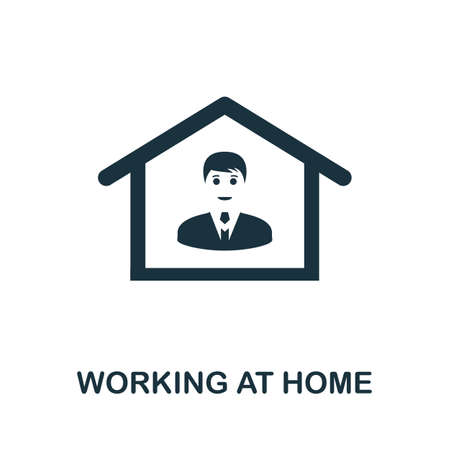 Working At Home icon. Simple element from new normality collection. Filled monochrome Working At Home icon for templates, infographics and banners