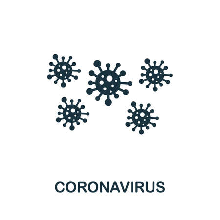 Coronavirus icon. Simple element from new normality collection. Filled monochrome Coronavirus icon for templates, infographics and banners 矢量图像